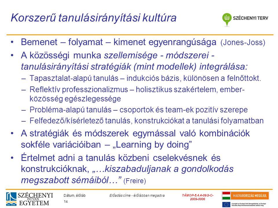 TÁMOP-5.4.4-09/2-C- 2009-0006 Bemenet – folyamat – kimenet egyenrangúsága (Jones-Joss) A közösségi munka szellemisége - módszerei - tanulásirányítási stratégiák (mint modellek) integrálása: –Tapasztalat-alapú tanulás – indukciós bázis, különösen a felnőttokt.