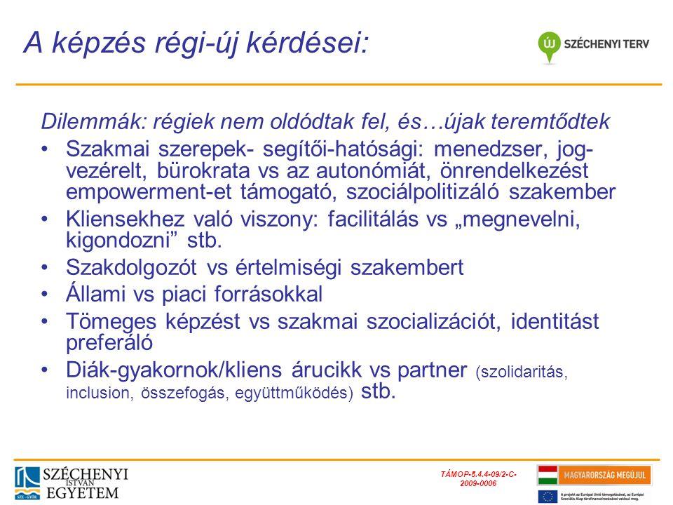 TÁMOP-5.4.4-09/2-C- 2009-0006 Karuza és társai (1982) Dominelli (1997) Lorenz (2006)Tew (2009) Felelősség a problémák okaiban és megoldásában: - Kompenzáló - Erkölcsi - Felvilágosító - Medikális Az állam és az állampolgár viszonyának közvetítője a sz.
