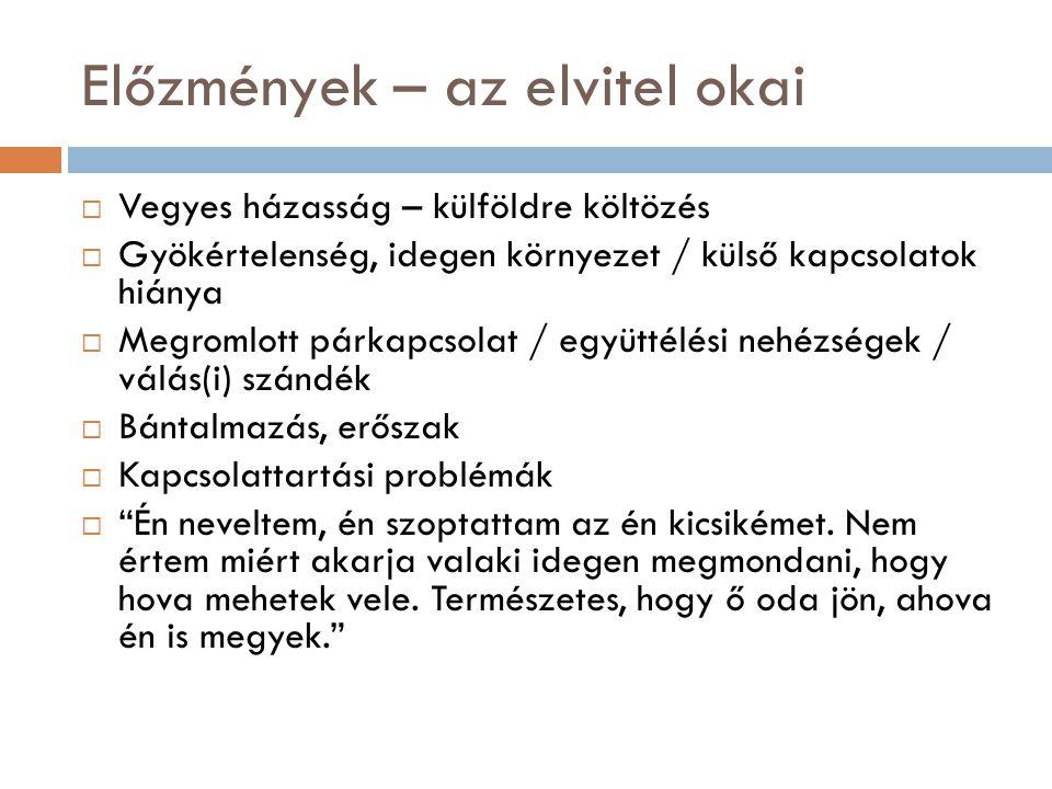 Profilalkotás – a tipikus elkövető  Az anya (88%)  31-45 év közötti  Nem rendelkezik rendszeres jövedelemmel (háztartásbeli, GYES-GYED, munkanélküli) (40%)  Magyar állampolgár  Családi kapcsolatai megmaradtak az anyaországban  A jogellenesen elvitt gyerek 6 éven aluli (75%) – tipikusan 1 gyermek érintett az elvitellel