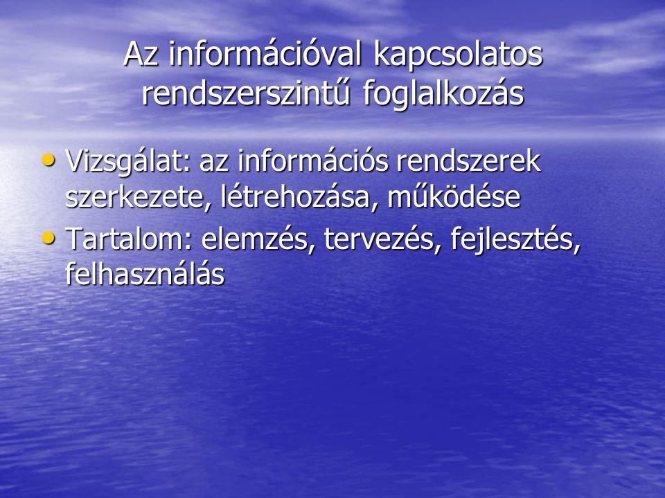Az információval kapcsolatos rendszerszintű foglalkozás Vizsgálat: az információs rendszerek szerkezete, létrehozása, működése Vizsgálat: az informáci