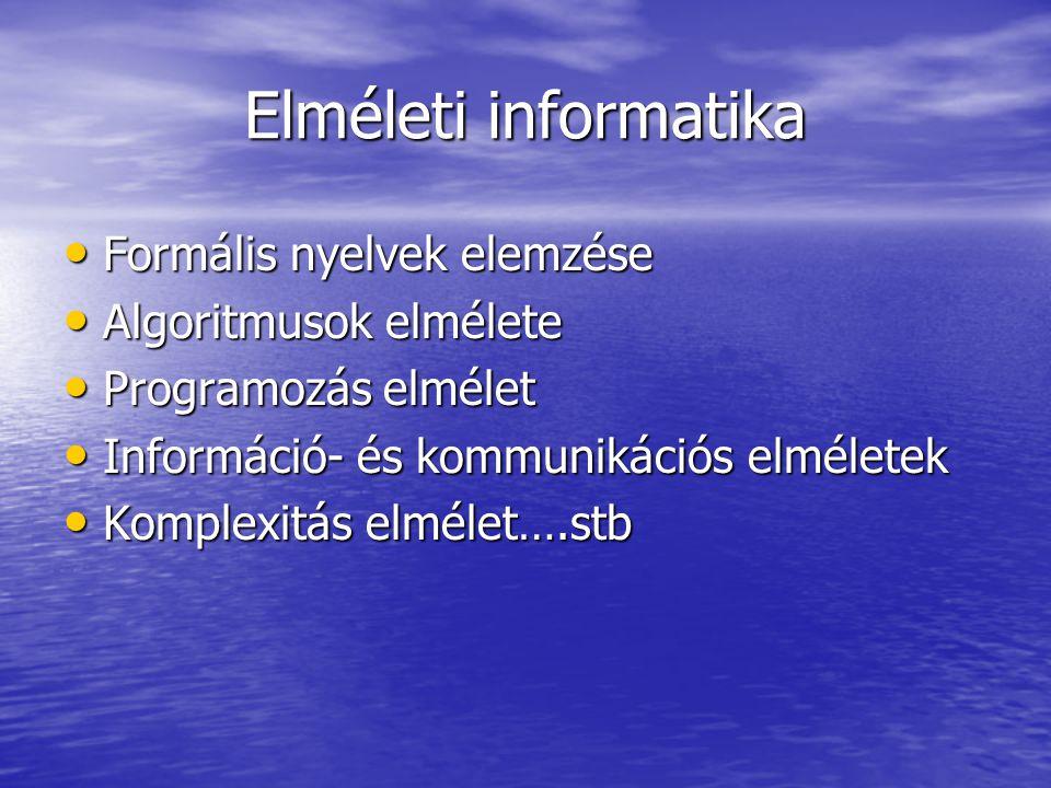 Elméleti informatika Formális nyelvek elemzése Formális nyelvek elemzése Algoritmusok elmélete Algoritmusok elmélete Programozás elmélet Programozás e