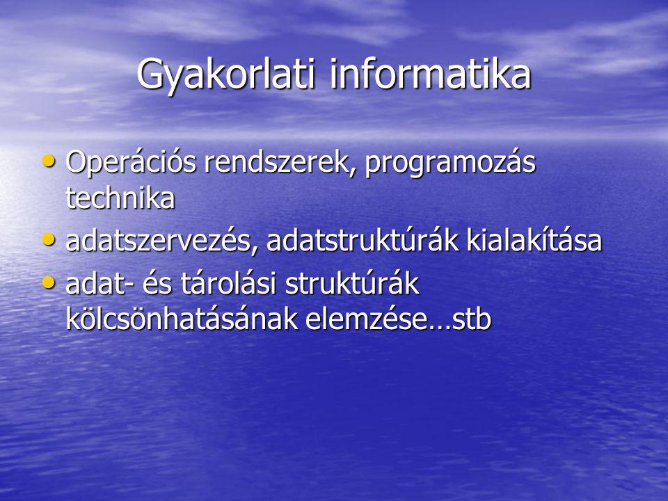 Gyakorlati informatika Operációs rendszerek, programozás technika Operációs rendszerek, programozás technika adatszervezés, adatstruktúrák kialakítása