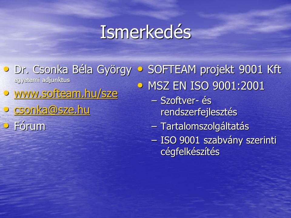 Ismerkedés Dr. Csonka Béla György egyetemi adjunktus Dr. Csonka Béla György egyetemi adjunktus www.softeam.hu/sze www.softeam.hu/sze www.softeam.hu/sz