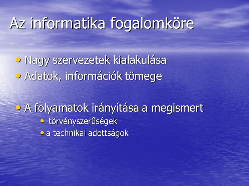 Az informatika fogalomköre Nagy szervezetek kialakulása Nagy szervezetek kialakulása Adatok, információk tömege Adatok, információk tömege A folyamato
