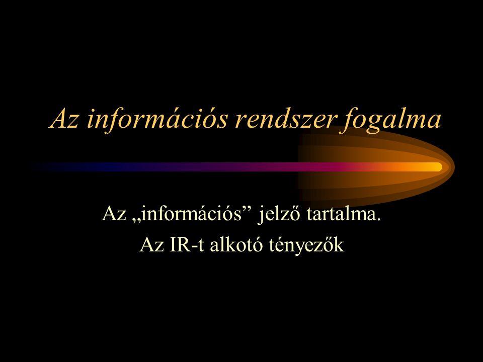 """Az információs rendszer fogalma Az """"információs jelző tartalma. Az IR-t alkotó tényezők"""
