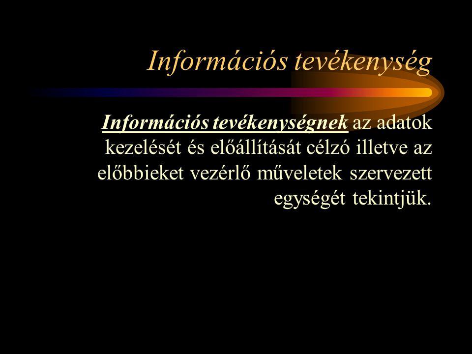 Információs tevékenység Információs tevékenységnek az adatok kezelését és előállítását célzó illetve az előbbieket vezérlő műveletek szervezett egységét tekintjük.