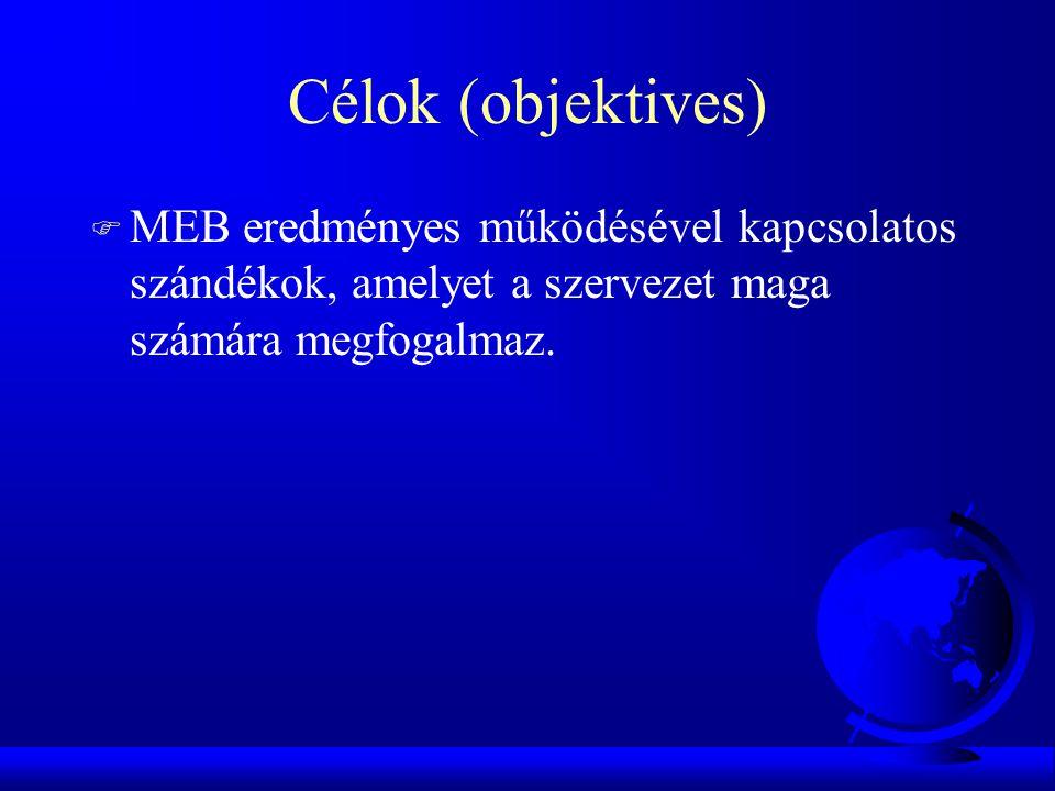 Célok (objektives) F MEB eredményes működésével kapcsolatos szándékok, amelyet a szervezet maga számára megfogalmaz.