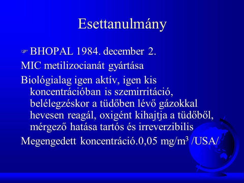 Esettanulmány F BHOPAL 1984. december 2. MIC metilizocianát gyártása Biológialag igen aktív, igen kis koncentrációban is szemirritáció, belélegzéskor