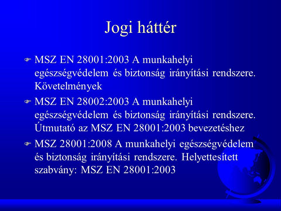 Jogi háttér F MSZ EN 28001:2003 A munkahelyi egészségvédelem és biztonság irányítási rendszere. Követelmények F MSZ EN 28002:2003 A munkahelyi egészsé
