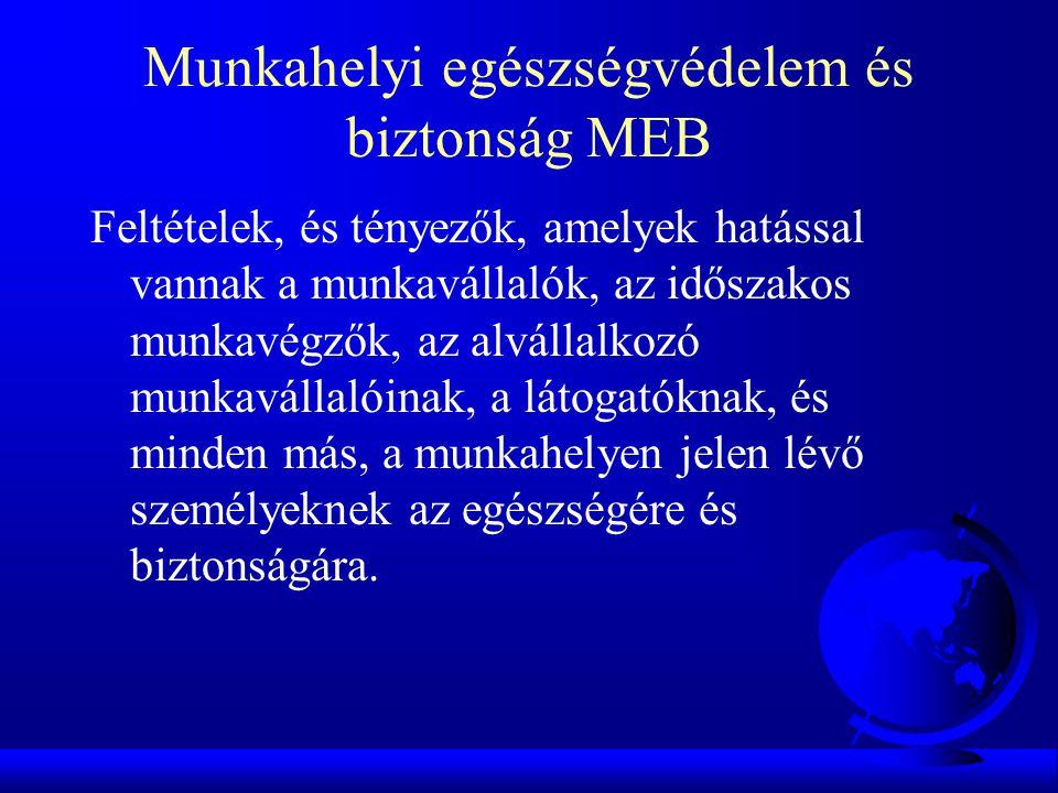 MEBIR Munkahelyi egészségvédelmi és biztonsági irányítási rendszer: általános irányítási rendszer része, amely megkönnyíti a szervezet üzleti tevékenységével kapcsolatos MEB-kockázatok kezelésének irányítását.