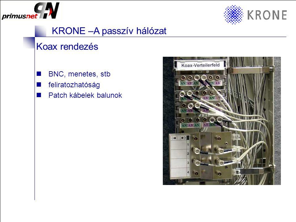 """KRONE 3/98 Folie 4 KRONE –A passzív hálózat Vegyes rendezők Optika, réz, koax Többféle hálózat kapcsolódásához 19"""" széles Sorolható, stb VtS"""