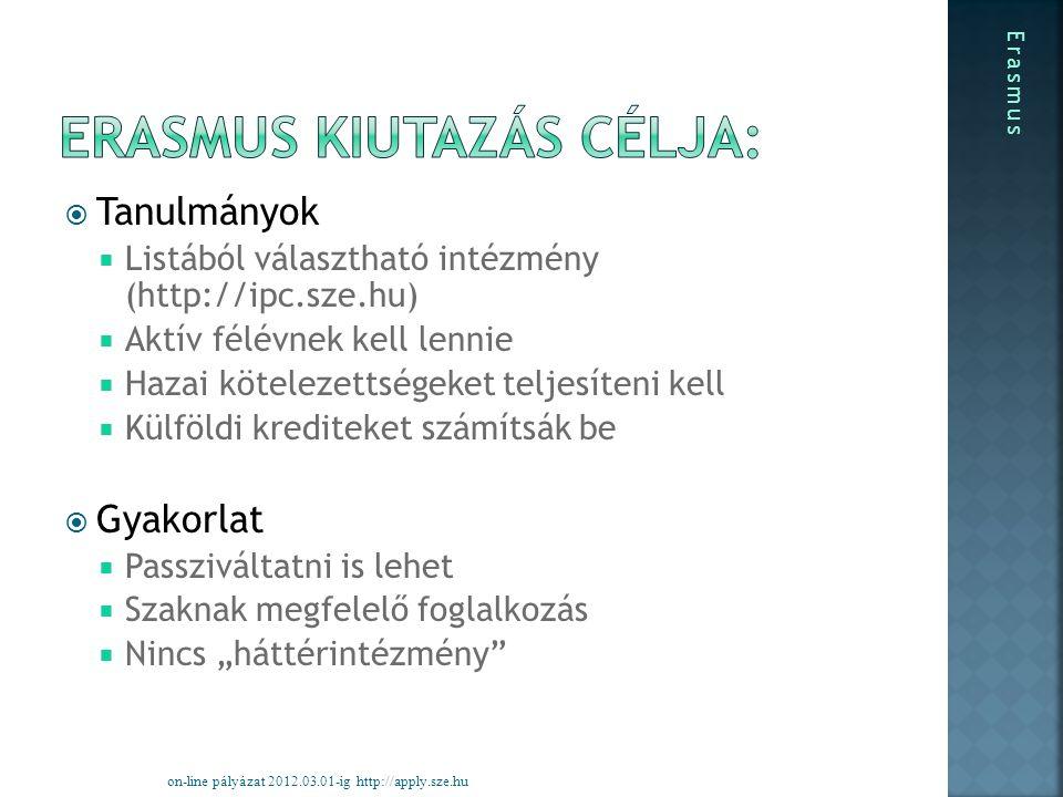""" Tanulmányok  Listából választható intézmény (http://ipc.sze.hu)  Aktív félévnek kell lennie  Hazai kötelezettségeket teljesíteni kell  Külföldi krediteket számítsák be  Gyakorlat  Passziváltatni is lehet  Szaknak megfelelő foglalkozás  Nincs """"háttérintézmény on-line pályázat 2012.03.01-ig http://apply.sze.hu Erasmus"""