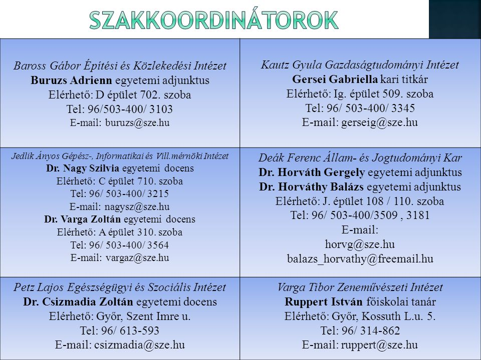 Baross Gábor Építési és Közlekedési Intézet Buruzs Adrienn egyetemi adjunktus Elérhető: D épület 702.