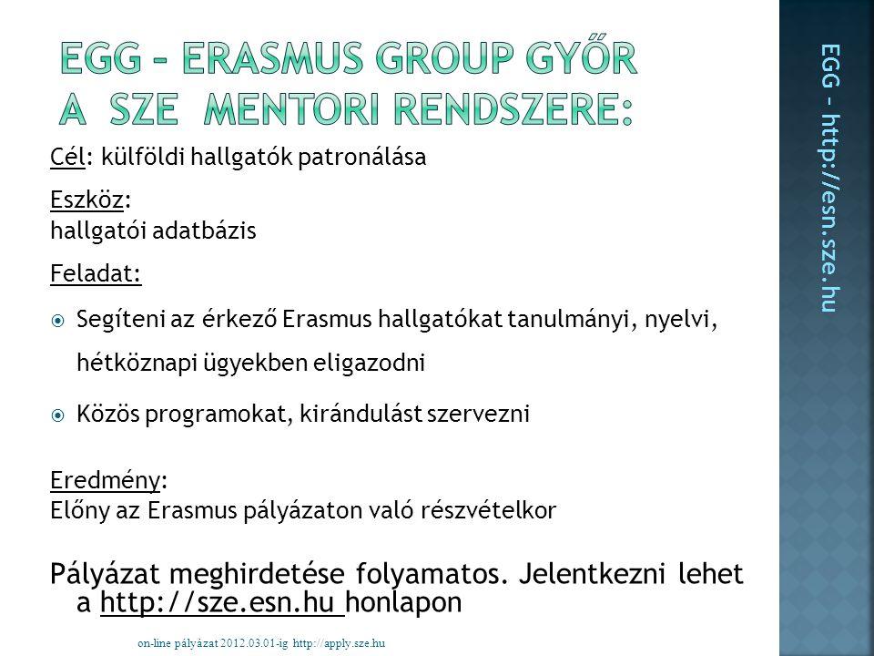 Cél: külföldi hallgatók patronálása Eszköz: hallgatói adatbázis Feladat:  Segíteni az érkező Erasmus hallgatókat tanulmányi, nyelvi, hétköznapi ügyekben eligazodni  Közös programokat, kirándulást szervezni Eredmény: Előny az Erasmus pályázaton való részvételkor Pályázat meghirdetése folyamatos.