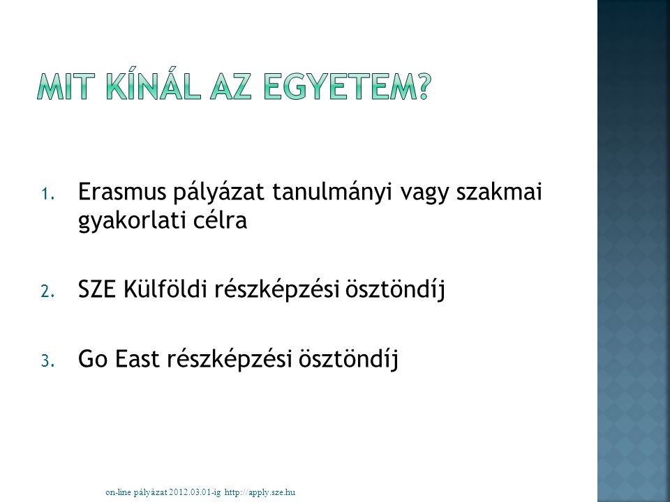 1. Erasmus pályázat tanulmányi vagy szakmai gyakorlati célra 2.