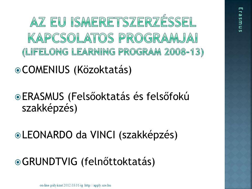  COMENIUS (Közoktatás)  ERASMUS (Felsőoktatás és felsőfokú szakképzés)  LEONARDO da VINCI (szakképzés)  GRUNDTVIG (felnőttoktatás) on-line pályázat 2012.03.01-ig http://apply.sze.hu Erasmus