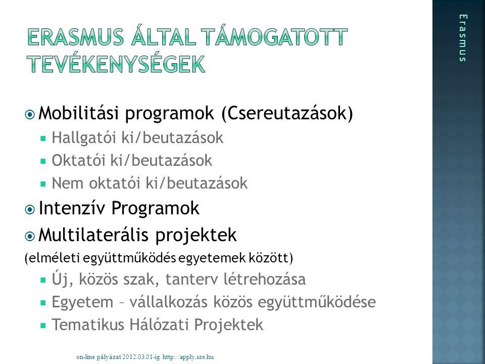  Mobilitási programok (Csereutazások)  Hallgatói ki/beutazások  Oktatói ki/beutazások  Nem oktatói ki/beutazások  Intenzív Programok  Multilaterális projektek (elméleti együttműködés egyetemek között)  Új, közös szak, tanterv létrehozása  Egyetem – vállalkozás közös együttműködése  Tematikus Hálózati Projektek on-line pályázat 2012.03.01-ig http://apply.sze.hu Erasmus