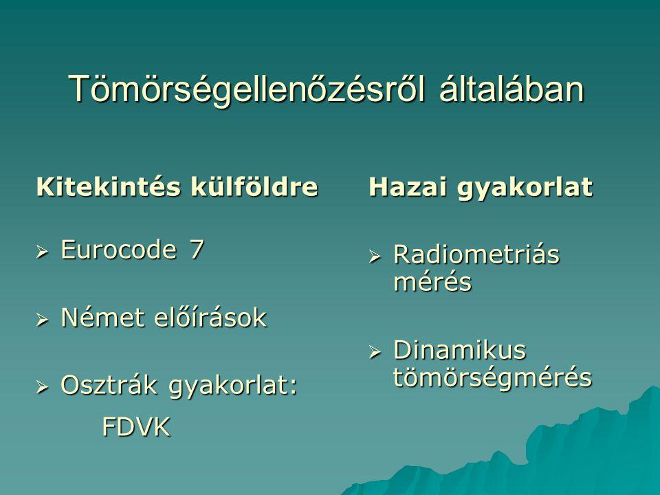 Tömörségellenőzésről általában Kitekintés külföldre  Eurocode 7  Német előírások  Osztrák gyakorlat: FDVK Hazai gyakorlat  Radiometriás mérés  Di
