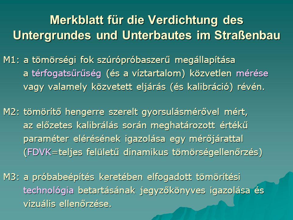 Merkblatt für die Verdichtung des Untergrundes und Unterbautes im Straßenbau M1: a tömörségi fok szúrópróbaszerű megállapítása a térfogatsűrűség (és a