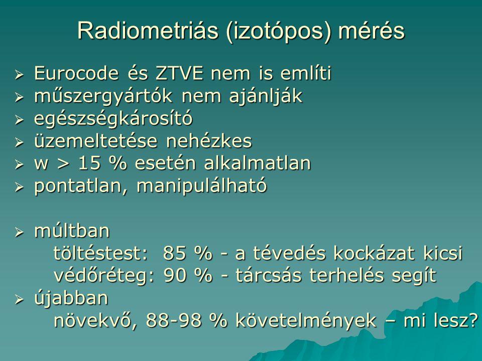 Radiometriás (izotópos) mérés  Eurocode és ZTVE nem is említi  műszergyártók nem ajánlják  egészségkárosító  üzemeltetése nehézkes  w > 15 % eset