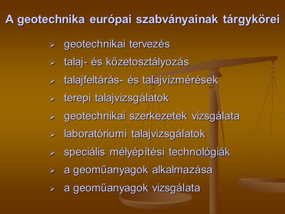 A geotechnika európai szabványainak tárgykörei  geotechnikai tervezés  talaj- és kőzetosztályozás  talajfeltárás- és talajvízmérések  terepi talaj