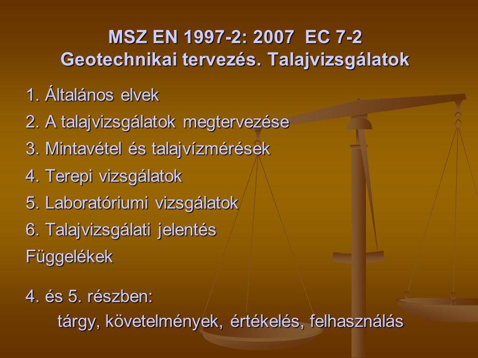 MSZ EN 1997-2: 2007 EC 7-2 Geotechnikai tervezés. Talajvizsgálatok 1. Általános elvek 2. A talajvizsgálatok megtervezése 3. Mintavétel és talajvízméré