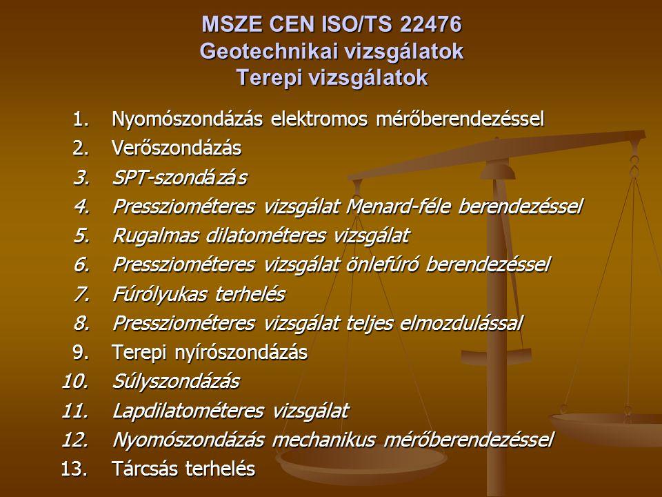 MSZE CEN ISO/TS 22476 Geotechnikai vizsgálatok Terepi vizsgálatok 1. Nyomószondázás elektromos mérőberendezéssel 1. Nyomószondázás elektromos mérőbere