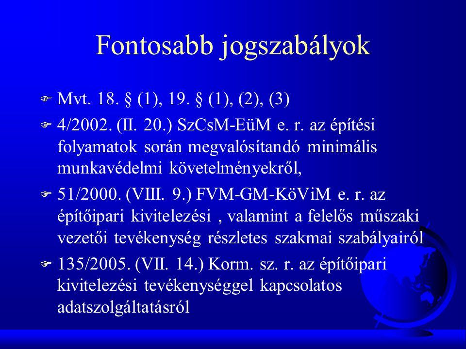 Fontosabb jogszabályok F Mvt. 18. § (1), 19. § (1), (2), (3) F 4/2002. (II. 20.) SzCsM-EüM e. r. az építési folyamatok során megvalósítandó minimális