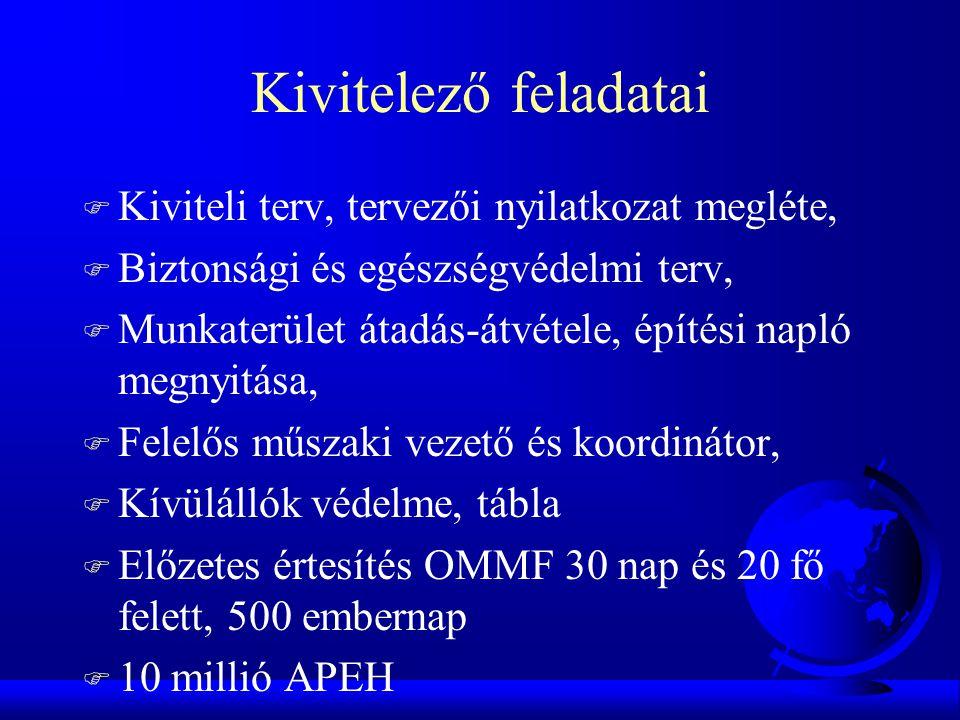 Kivitelező feladatai F Kiviteli terv, tervezői nyilatkozat megléte, F Biztonsági és egészségvédelmi terv, F Munkaterület átadás-átvétele, építési napl