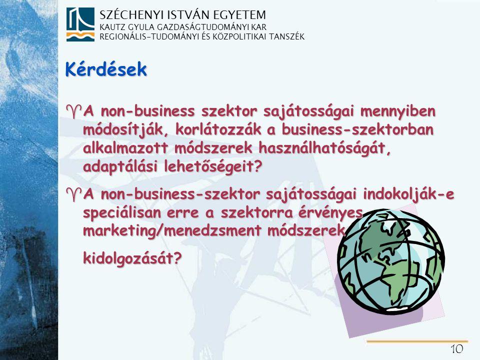 SZÉCHENYI ISTVÁN EGYETEM KAUTZ GYULA GAZDASÁGTUDOMÁNYI KAR REGIONÁLIS-TUDOMÁNYI ÉS KÖZPOLITIKAI TANSZÉK 10 Kérdések ^A non-business szektor sajátosságai mennyiben módosítják, korlátozzák a business-szektorban alkalmazott módszerek használhatóságát, adaptálási lehetőségeit.