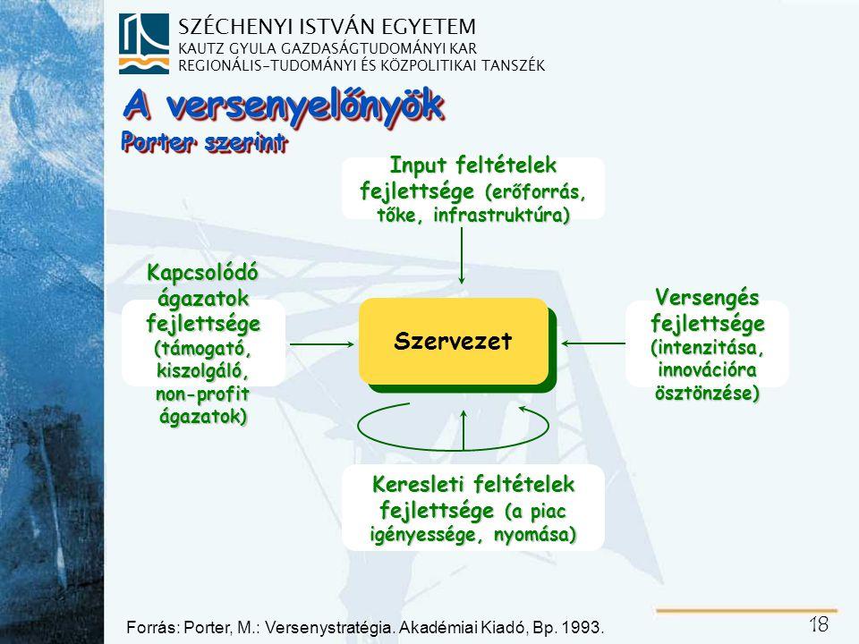 SZÉCHENYI ISTVÁN EGYETEM KAUTZ GYULA GAZDASÁGTUDOMÁNYI KAR REGIONÁLIS-TUDOMÁNYI ÉS KÖZPOLITIKAI TANSZÉK 18 A versenyelőnyök Porter szerint Input feltételek fejlettsége (erőforrás, tőke, infrastruktúra) Szervezet Keresleti feltételek fejlettsége (a piac igényessége, nyomása) Kapcsolódó ágazatok fejlettsége (támogató, kiszolgáló, non-profit ágazatok) Versengés fejlettsége (intenzitása, innovációra ösztönzése) Forrás: Porter, M.: Versenystratégia.