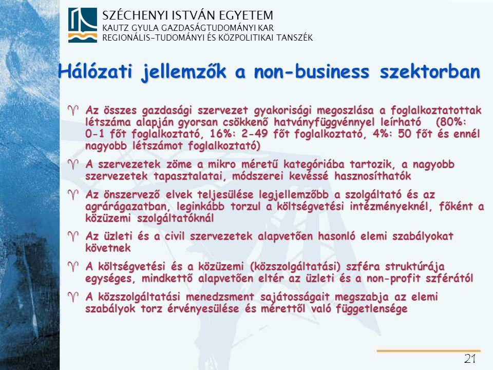 SZÉCHENYI ISTVÁN EGYETEM KAUTZ GYULA GAZDASÁGTUDOMÁNYI KAR REGIONÁLIS-TUDOMÁNYI ÉS KÖZPOLITIKAI TANSZÉK 21 Hálózati jellemzők a non-business szektorban ^Az összes gazdasági szervezet gyakorisági megoszlása a foglalkoztatottak létszáma alapján gyorsan csökkenő hatványfüggvénnyel leírható (80%: 0-1 főt foglalkoztató, 16%: 2-49 főt foglalkoztató, 4%: 50 főt és ennél nagyobb létszámot foglalkoztató) ^A szervezetek zöme a mikro méretű kategóriába tartozik, a nagyobb szervezetek tapasztalatai, módszerei kevéssé hasznosíthatók ^Az önszervező elvek teljesülése legjellemzőbb a szolgáltató és az agrárágazatban, leginkább torzul a költségvetési intézményeknél, főként a közüzemi szolgáltatóknál ^Az üzleti és a civil szervezetek alapvetően hasonló elemi szabályokat követnek ^A költségvetési és a közüzemi (közszolgáltatási) szféra struktúrája egységes, mindkettő alapvetően eltér az üzleti és a non-profit szférától ^A közszolgáltatási menedzsment sajátosságait megszabja az elemi szabályok torz érvényesülése és mérettől való függetlensége