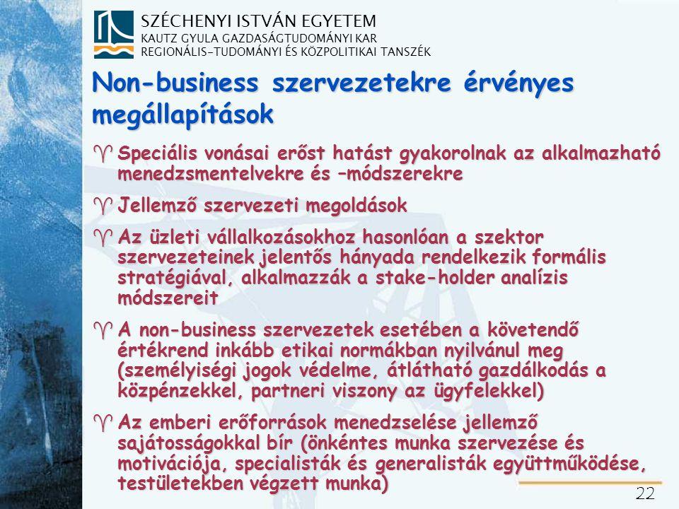 SZÉCHENYI ISTVÁN EGYETEM KAUTZ GYULA GAZDASÁGTUDOMÁNYI KAR REGIONÁLIS-TUDOMÁNYI ÉS KÖZPOLITIKAI TANSZÉK 22 Non-business szervezetekre érvényes megállapítások ^Speciális vonásai erőst hatást gyakorolnak az alkalmazható menedzsmentelvekre és –módszerekre ^Jellemző szervezeti megoldások ^Az üzleti vállalkozásokhoz hasonlóan a szektor szervezeteinek jelentős hányada rendelkezik formális stratégiával, alkalmazzák a stake-holder analízis módszereit ^A non-business szervezetek esetében a követendő értékrend inkább etikai normákban nyilvánul meg (személyiségi jogok védelme, átlátható gazdálkodás a közpénzekkel, partneri viszony az ügyfelekkel) ^Az emberi erőforrások menedzselése jellemző sajátosságokkal bír (önkéntes munka szervezése és motivációja, specialisták és generalisták együttműködése, testületekben végzett munka)