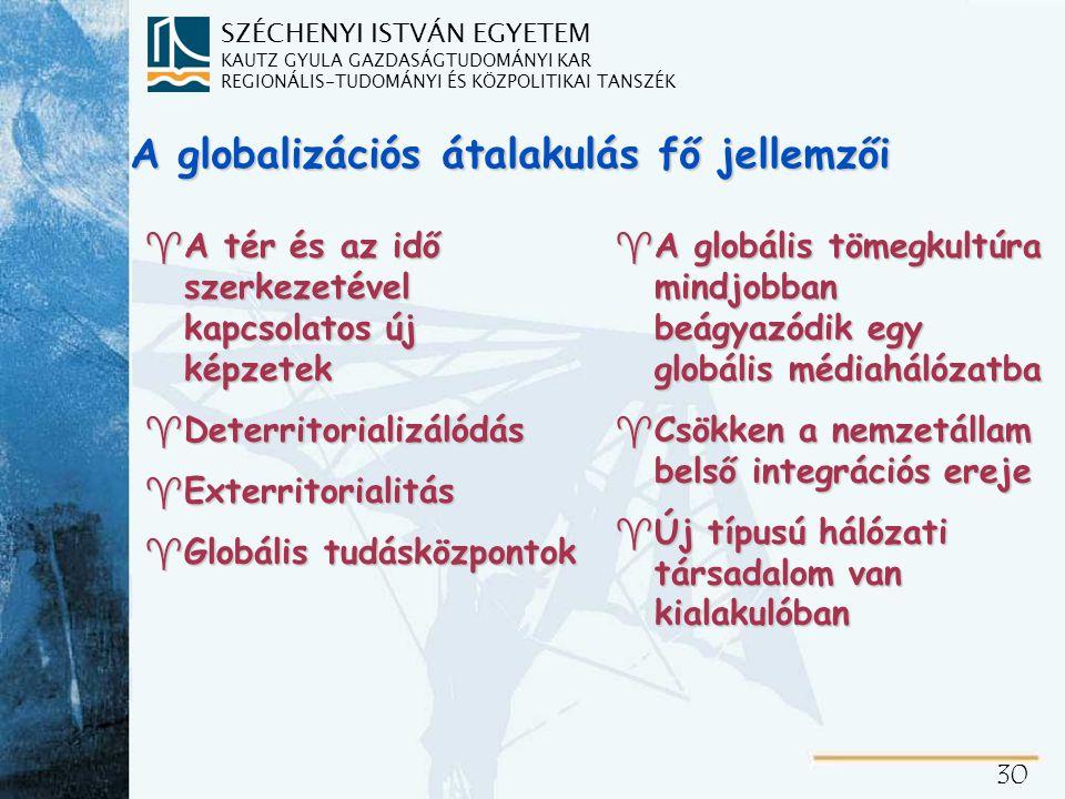 SZÉCHENYI ISTVÁN EGYETEM KAUTZ GYULA GAZDASÁGTUDOMÁNYI KAR REGIONÁLIS-TUDOMÁNYI ÉS KÖZPOLITIKAI TANSZÉK 30 A globalizációs átalakulás fő jellemzői ^A tér és az idő szerkezetével kapcsolatos új képzetek ^Deterritorializálódás ^Exterritorialitás ^Globális tudásközpontok ^A globális tömegkultúra mindjobban beágyazódik egy globális médiahálózatba ^Csökken a nemzetállam belső integrációs ereje ^Új típusú hálózati társadalom van kialakulóban