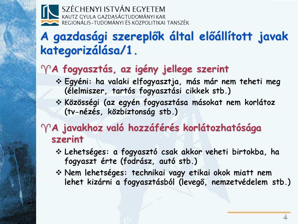 SZÉCHENYI ISTVÁN EGYETEM KAUTZ GYULA GAZDASÁGTUDOMÁNYI KAR REGIONÁLIS-TUDOMÁNYI ÉS KÖZPOLITIKAI TANSZÉK 35 A magyar non-profit szektor pénzügyi forrásai (2001) ^Alaptevékenységből származó bevétel: 35,30% ^Állami támogatás: 34,40% (növekvő, az országok átlagában 40% feletti) ^Gazdálkodási tevékenység: 15,70% (csökkenő) ^Magántámogatás: 13,80% (stagnál, a világon mindenütt kiegészítő jellegű) ^Egyéb: 8% ^A bevételi szerkezet viszonylag nagyfokú állandósága, aránya hasonló a fejlett országokéihoz