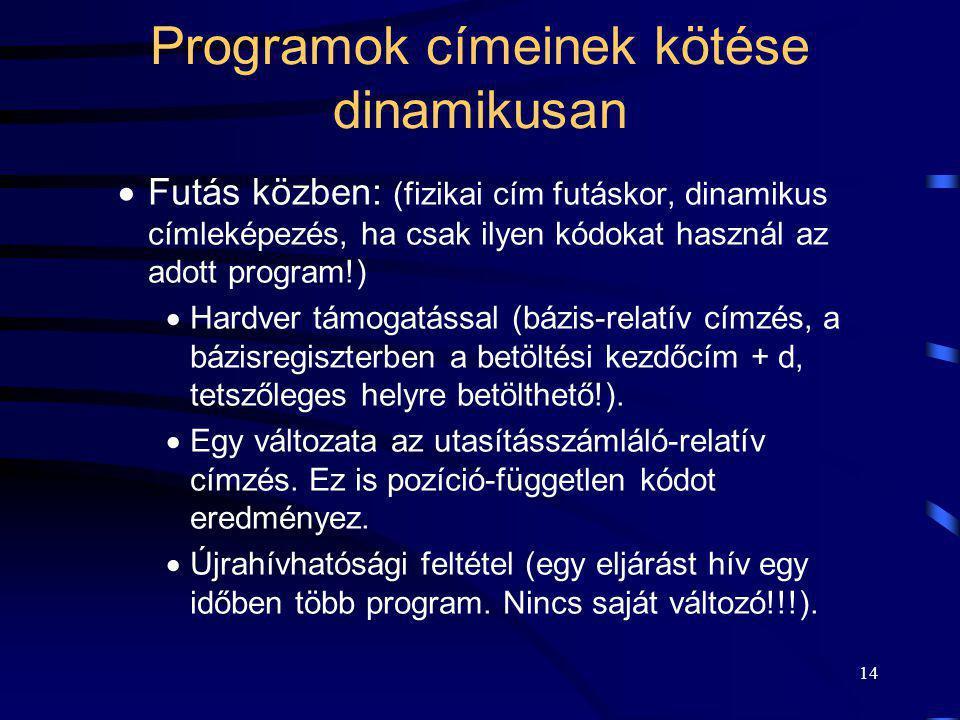 14 Programok címeinek kötése dinamikusan  Futás közben: (fizikai cím futáskor, dinamikus címleképezés, ha csak ilyen kódokat használ az adott program