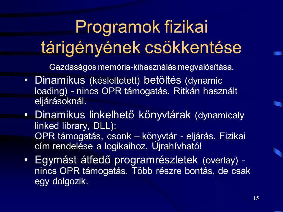15 Programok fizikai tárigényének csökkentése Gazdaságos memória-kihasználás megvalósítása. Dinamikus (késleltetett) betöltés (dynamic loading) - ninc
