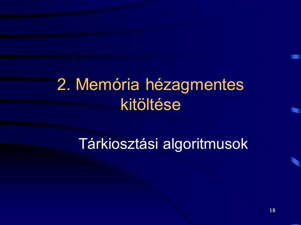 18 2. Memória hézagmentes kitöltése Tárkiosztási algoritmusok