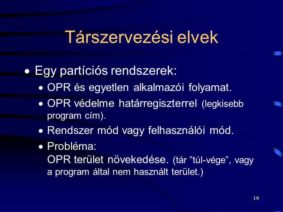 19 Társzervezési elvek  Egy partíciós rendszerek:  OPR és egyetlen alkalmazói folyamat.  OPR védelme határregiszterrel (legkisebb program cím).  R