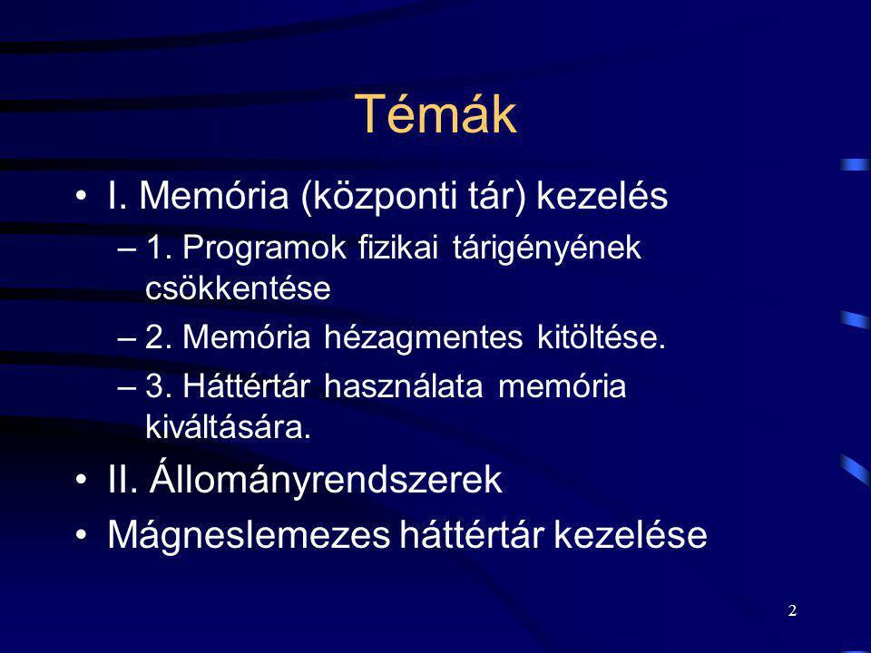 2 Témák I. Memória (központi tár) kezelés –1. Programok fizikai tárigényének csökkentése –2. Memória hézagmentes kitöltése. –3. Háttértár használata m