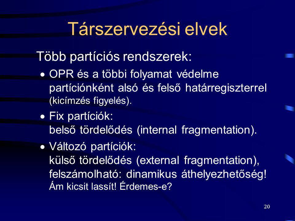 20 Társzervezési elvek Több partíciós rendszerek:  OPR és a többi folyamat védelme partíciónként alsó és felső határregiszterrel (kicímzés figyelés).