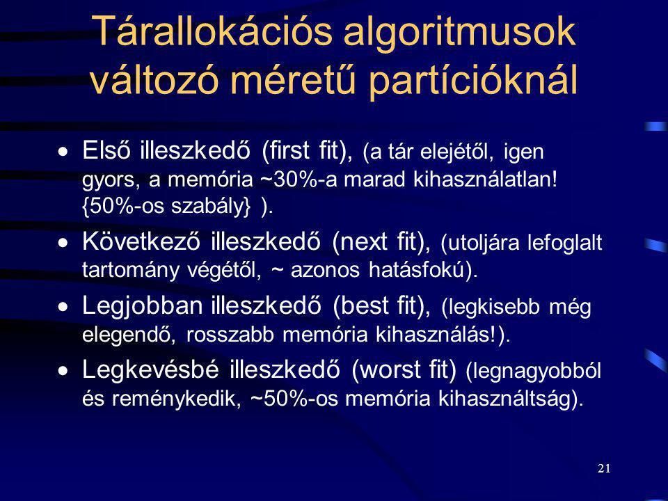 21 Tárallokációs algoritmusok változó méretű partícióknál  Első illeszkedő (first fit), (a tár elejétől, igen gyors, a memória ~30%-a marad kihasznál