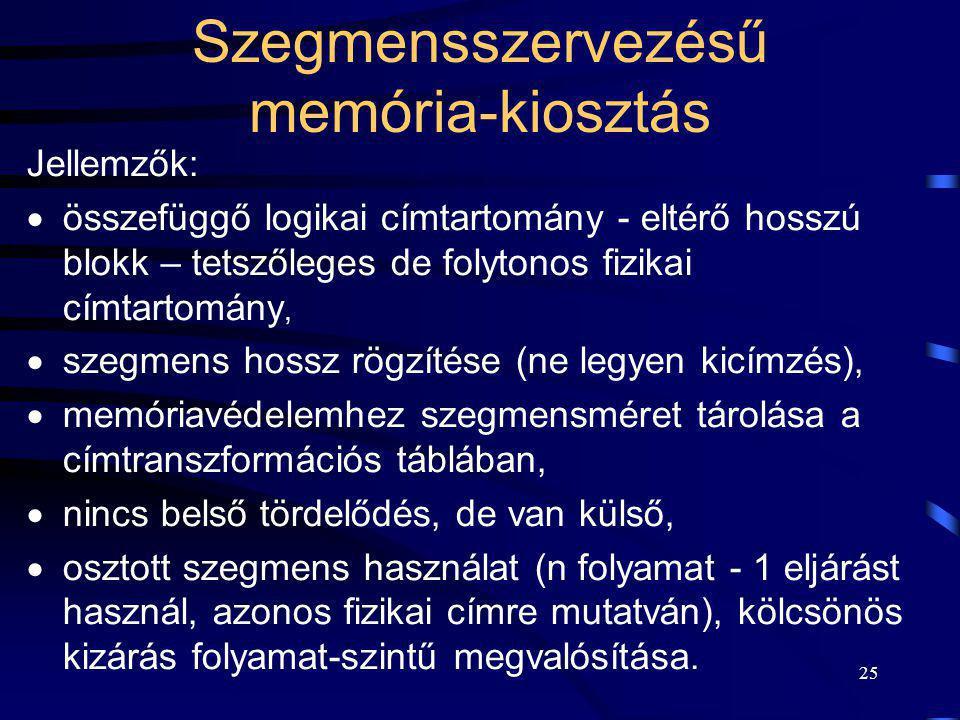 25 Szegmensszervezésű memória-kiosztás Jellemzők:  összefüggő logikai címtartomány - eltérő hosszú blokk – tetszőleges de folytonos fizikai címtartom