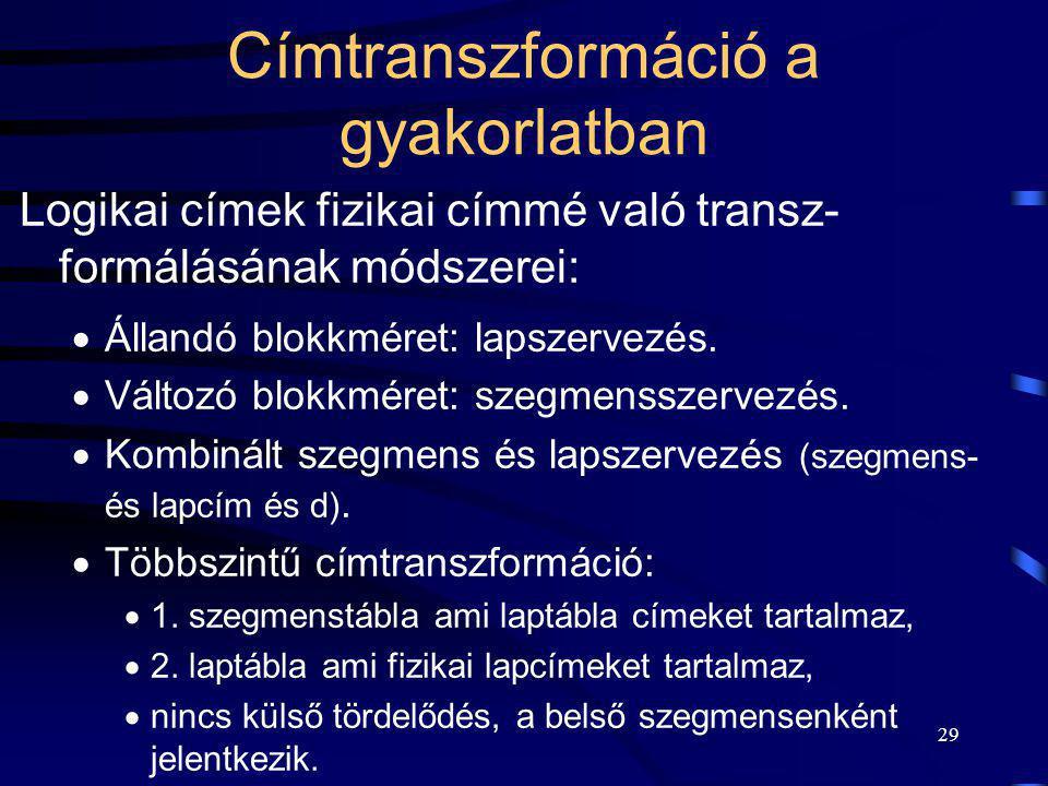 29 Címtranszformáció a gyakorlatban Logikai címek fizikai címmé való transz- formálásának módszerei:  Állandó blokkméret: lapszervezés.  Változó blo