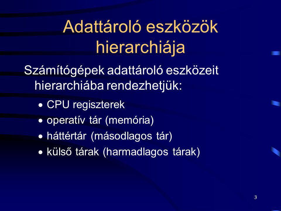 3 Adattároló eszközök hierarchiája Számítógépek adattároló eszközeit hierarchiába rendezhetjük:  CPU regiszterek  operatív tár (memória)  háttértár