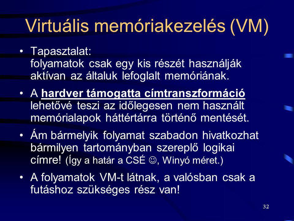 32 Virtuális memóriakezelés (VM) Tapasztalat: folyamatok csak egy kis részét használják aktívan az általuk lefoglalt memóriának. A hardver támogatta c