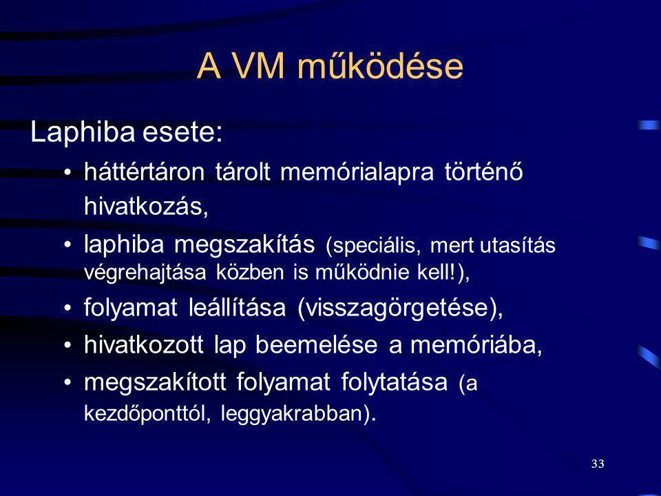 33 A VM működése Laphiba esete: háttértáron tárolt memórialapra történő hivatkozás, laphiba megszakítás (speciális, mert utasítás végrehajtása közben