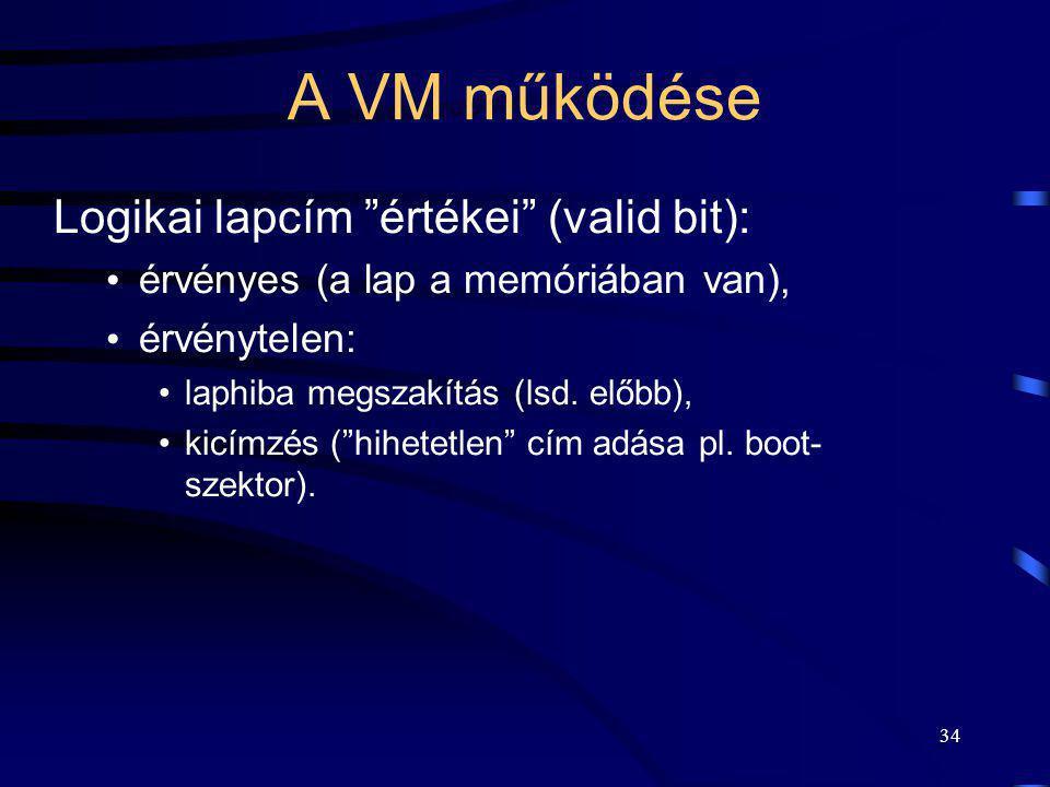 """34 A VM működése Logikai lapcím """"értékei"""" (valid bit): érvényes (a lap a memóriában van), érvénytelen: laphiba megszakítás (lsd. előbb), kicímzés (""""hi"""