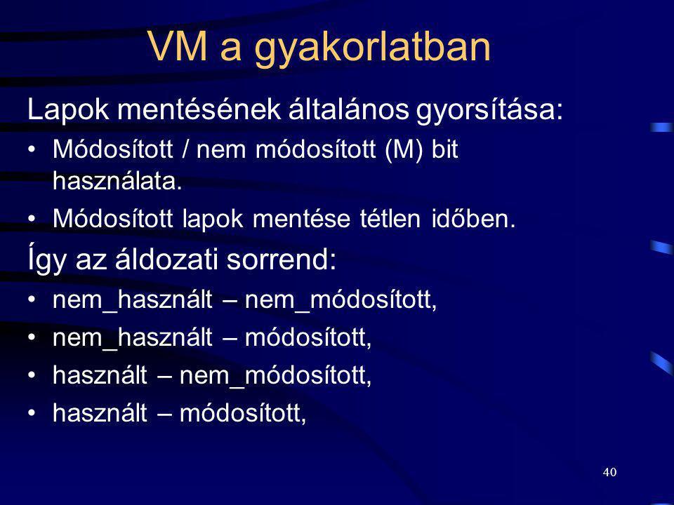 40 VM a gyakorlatban Lapok mentésének általános gyorsítása: Módosított / nem módosított (M) bit használata. Módosított lapok mentése tétlen időben. Íg