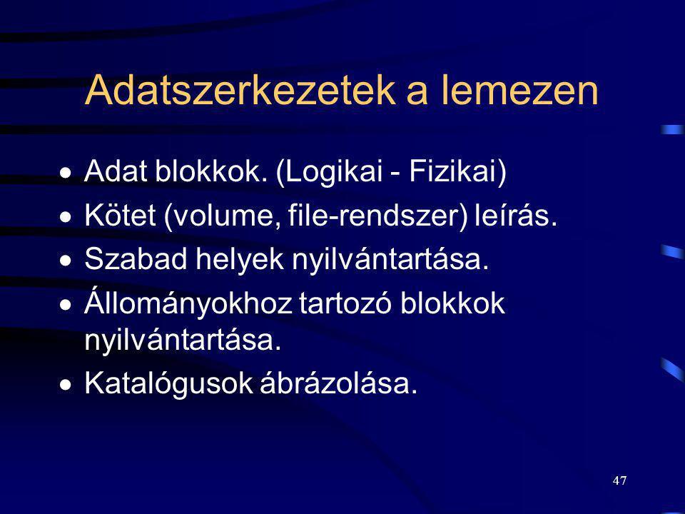 47 Adatszerkezetek a lemezen  Adat blokkok. (Logikai - Fizikai)  Kötet (volume, file-rendszer) leírás.  Szabad helyek nyilvántartása.  Állományokh